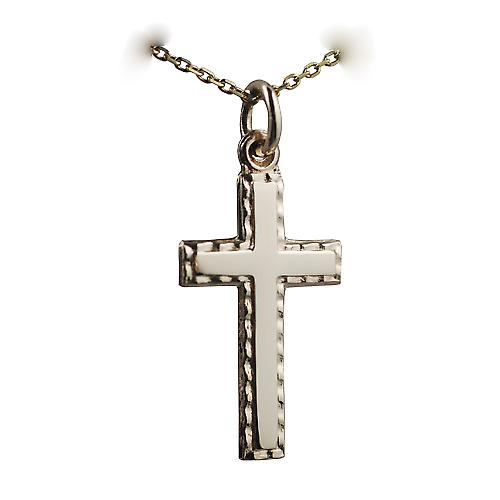9ct Gold 25x15mm plain with embossed border Cross with a cable link chain