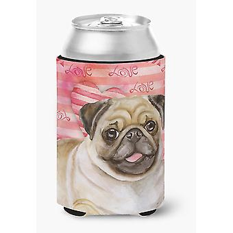 Carolines Treasures  BB9805CC Fawn Pug Love Can or Bottle Hugger