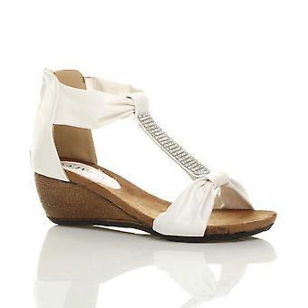 Ajvani womens mid heel footbed wedge zip t-bar diamante summer sandals shoes