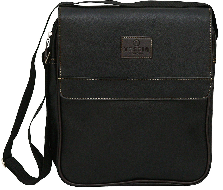 Pu Leather Look Unisex Mini Messenger Flight Bag Shoulder Side Business Case