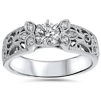 1/2 cttw Vintage diamant Engagement Ring i 14K hvide, gule eller Rose guld