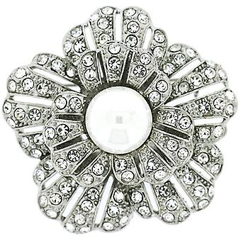 Brooches Store Antique Silver, Pearl and Swarovski Crystal Flower Brooch Bridal