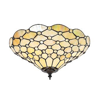 Interiors 1900 70242 Pearl Classic Tiffany 2 Light Flush Ceiling Fitti