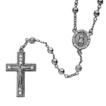 Iced Out Bling Fashion Kette - Rosary schwarz hematit II