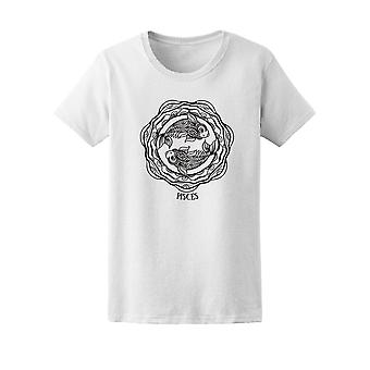 Vintage Pisces Symbol Sketch Tee Women's -Image by Shutterstock