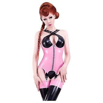 Westward Bound Crossover Latex Rubber Corselet. Pearl Sheen Fuchsia With Black Trim.