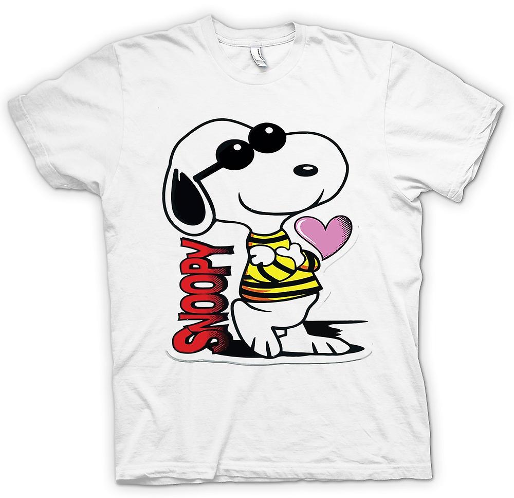 Herr T-shirt-Snoopy Cartoon med hjärta