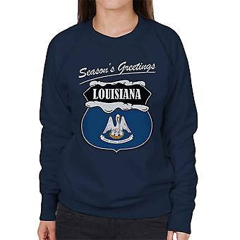 Seasons Greetings Louisiana State Flag Christmas Women's Sweatshirt