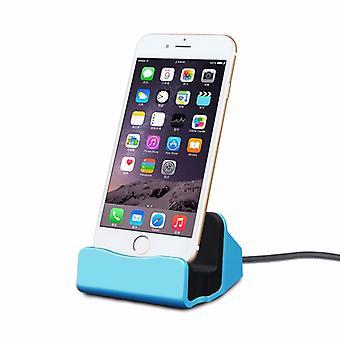 Vugge sync lader dokkingstasjon lading står for Apple iPhone 5 S 5 C SE 6 7 7 S 6 S pluss blå