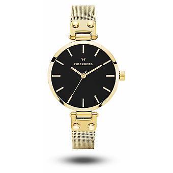 Mockberg Livia Petite Noir Gold PVD Plated Mesh Bracelet Black Dial MO403 Watch