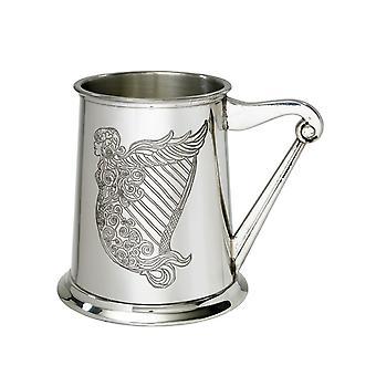 Irish Harp Embossed Pewter Tankard - 1 pint