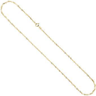 Singapore catena collana 333 giallo oro 1.8 mm 50 cm catena d'oro anello di chiusura a molla