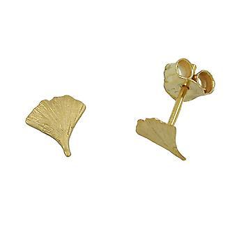 Ginko Ohrstecker goldener Ohrring GINKGOBLATT Ginkgostecker 7 mm 9 Kt Gold 375