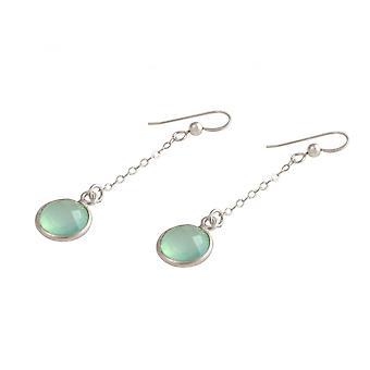 Ladies - earrings - earrings - 925 Silver - chalcedony - blue-green - 3.5 cm