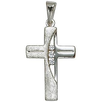 Pendant cross 925 sterling silver rhodium plated partly ice frosted 3 cubic zirconia