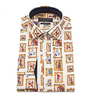 Guide London Cotton Sateen Animal Picture Frame Print Mens Shirt