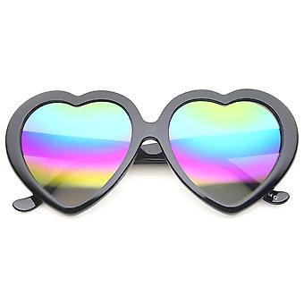 Arco iris de gran tamaño de las mujeres de color espejo corazón en forma de gafas de sol de lente 55mm