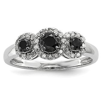 Sterling Silver Polished Prong set Gift Boxed Black and White Diamond Ring - Ring Size: 6 to 8