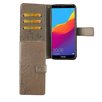 Huawei Honor 7C Handy-Hülle Schutz-Tasche Cover Flip-Case Kartenfach Grau