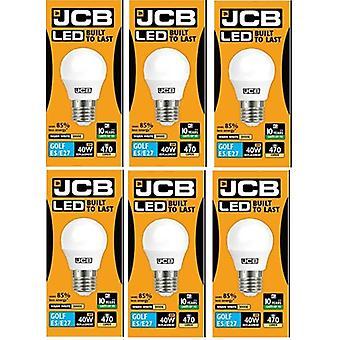 6 X JCB 6w LED E27 Golf Ball Bulbs Edison Screw, 40w Incandescent Bulb Equivalent, 470lm, Warm White 3000k , Non Dimmable, LED Edison Screw Golf Ball Light Bulbs, 220-240v[Energy Class A+]