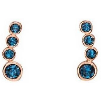 Elements Silver Crawler Swarovski Earrings - Rose Gold/Blue