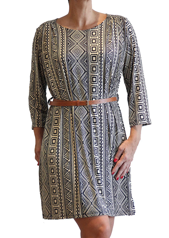 Waooh - Mode - Robe droite imprimé géométrique et ceinture