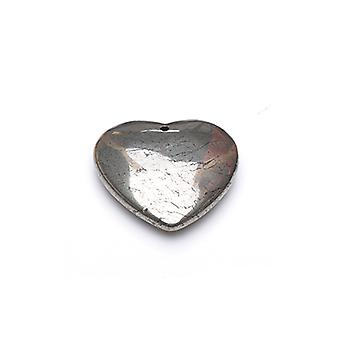 1 x Pale Gold Pyrite 40mm Heart Charm/Pendant GS18582-2