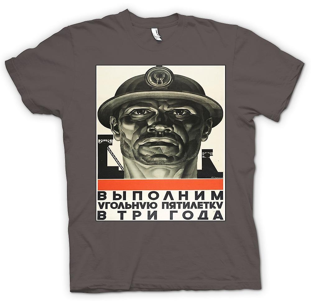 Mens T-shirt - Miner russische Propaganda - Plakat
