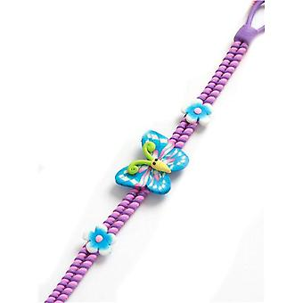 TOC Girls Pink & Purple Butterfly Fimo Charms Bracelet 7.5
