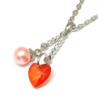 TOC Silvertone Orange Heart and Simulated Pearl Pendant on 16