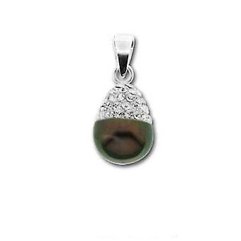 Toc Sterling Silver Black Freshwater Pearl and Crystal Wedding Pendant