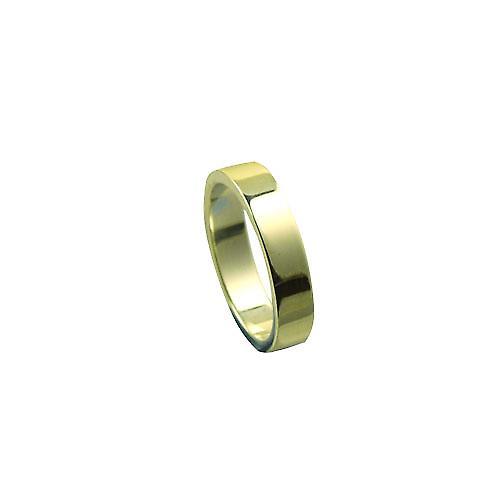 18ct yellow gold 4mm plain Flat wedding ring