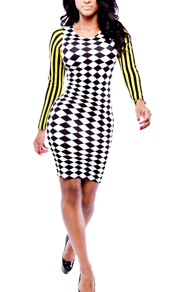 Waooh - Short dress checkerboard pattern and Fang lines