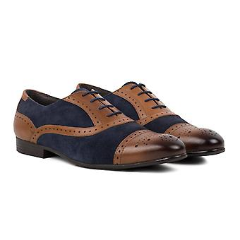 Mens tan leather navy suede oxford brogue shoe