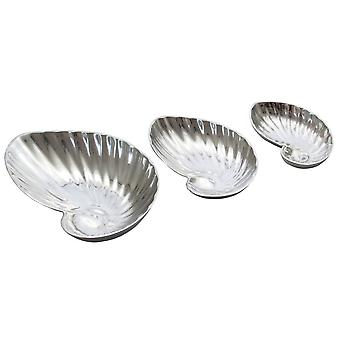 Set of 3 Appetizer Dishes Shell Shaped Decorative Metal Bowls
