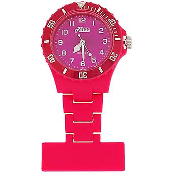 Relda Unisex Hot Pink Rotating Bezel Rubberised Nurses Fob Watch Rel19