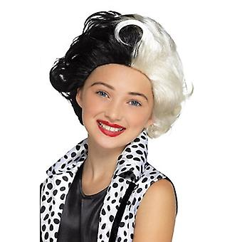 Evil Lady child wig black white Carnival accessory evil Madam Wig
