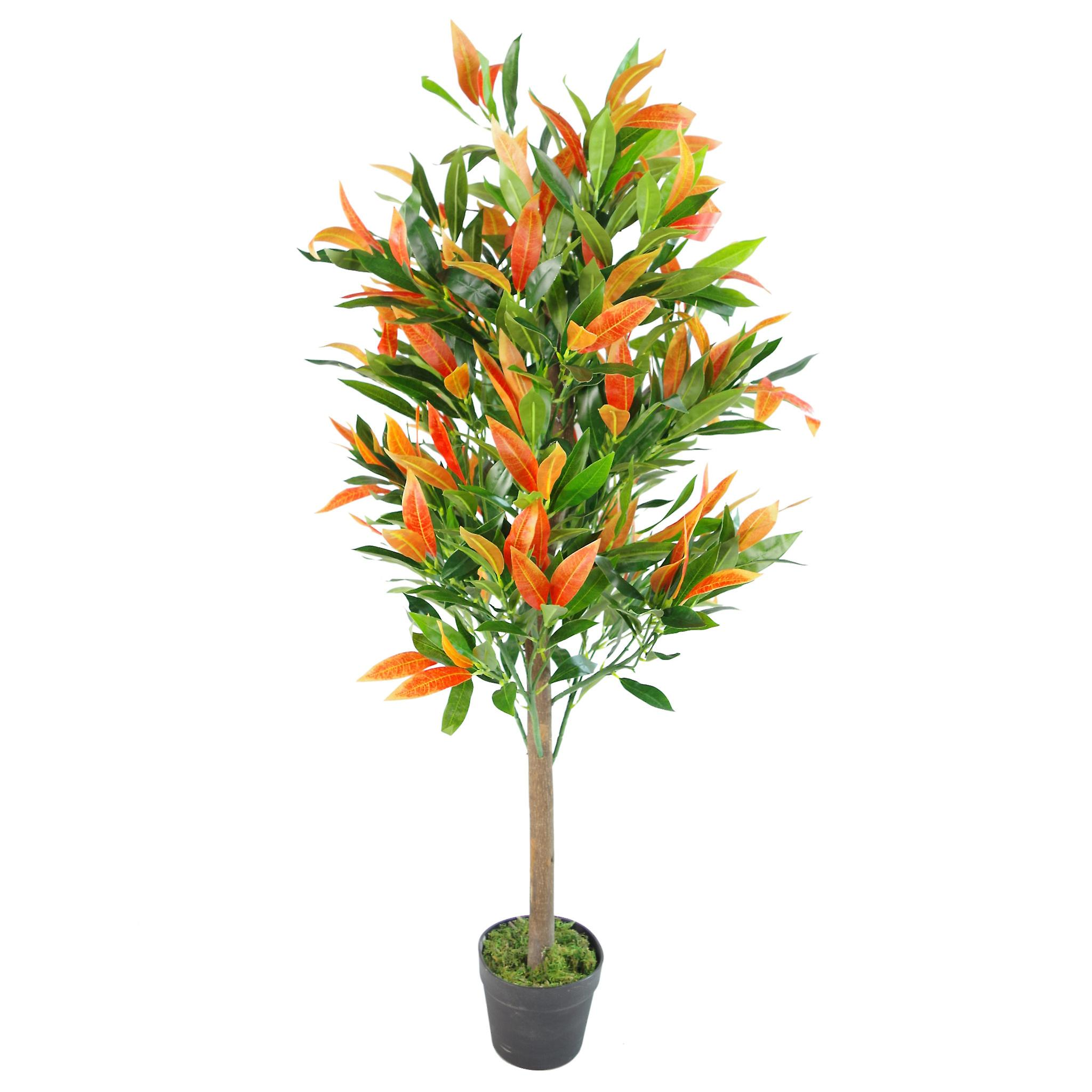 130cm Artificial Red & Green Ficus Tree