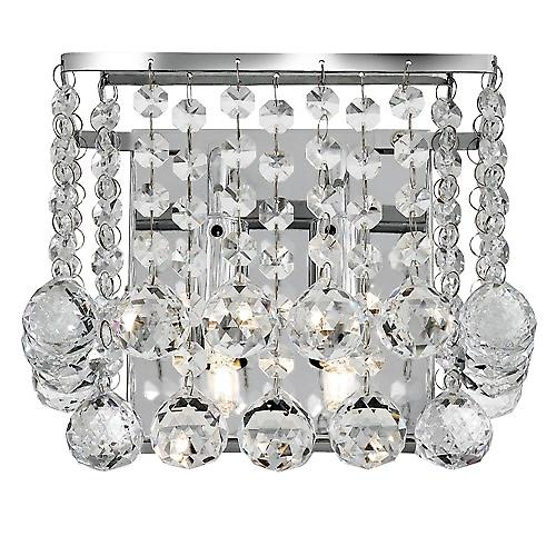 Searchlight 5402-2CC Hanna Chrome 2 Light Square Wall Bracket - Clear Crystal Ball