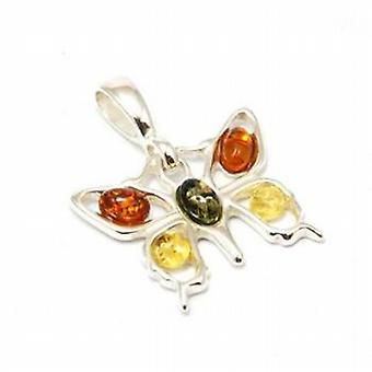 Toc Sterling Silver Amber Butterfly Pendant on 18 Inch Chain