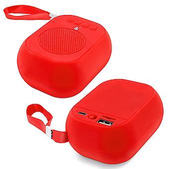 Bluetooth Audio Speaker  F4314 Micro-SD / USB Microphone FM Radio Red