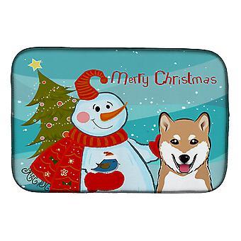 Carolines trésors BB1845DDM bonhomme de neige avec Shiba Inu plat Mat de séchage