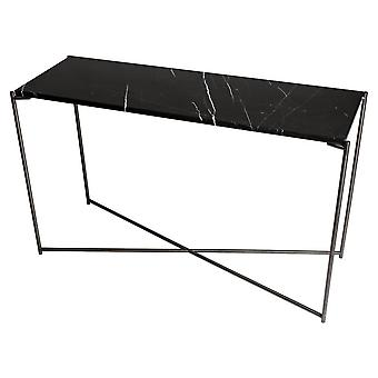 Gillmore Space Black Marble Large Console Table With Gun Metal Cross Base