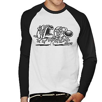 Grimmy Dog Chase miesten baseball pitkähihainen T-paita