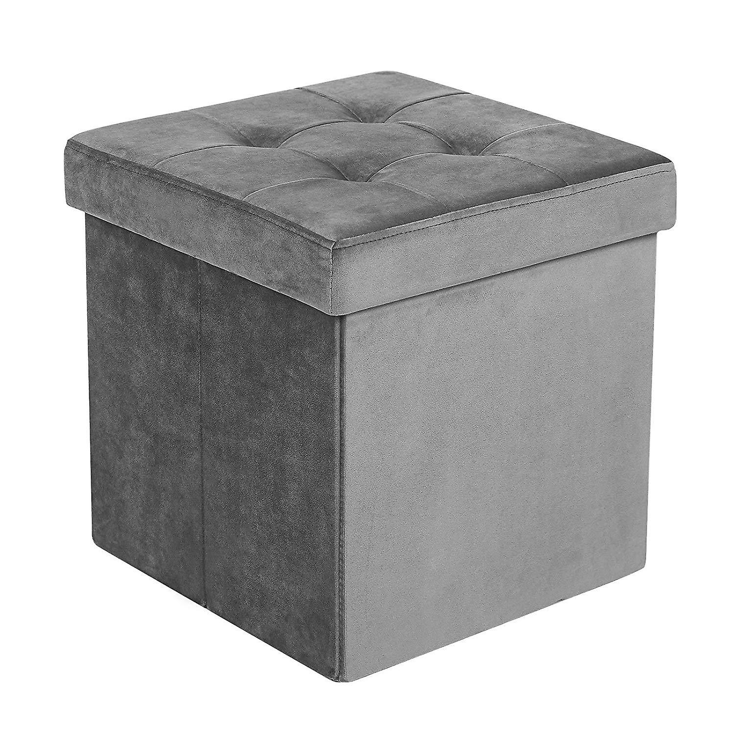 Grey Velvet Pouf with storage space
