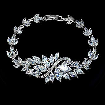 Christmas Gift - 18K Gold Plated Marquise-Cut AAA+ Swiss Cubic Zirconia Flower Bracelet