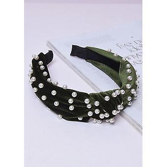 Samt Perle Knoten Stirnband grün