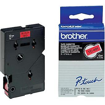 Labelling tape Brother TC-401 Tape colour: Red Font colour:Black 12 mm 7.7 m