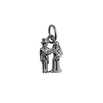 Silver 13x9mm solid Bride and Groom Pendant or Charm