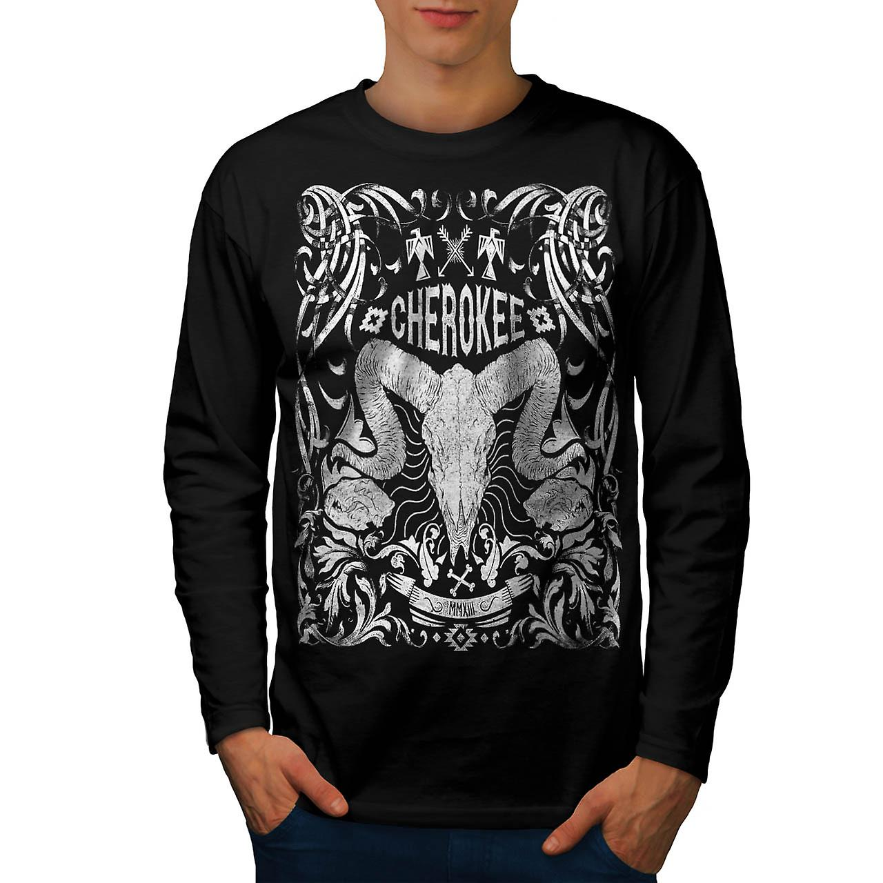 Native Culture Skull Animal Head Men Black Long Sleeve T-shirt | Wellcoda